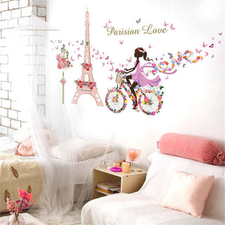 Romantic Paris Wall Sticker For Kids Rooms Eiffel Tower Flower Butterfly Fairy Girl Riding Wall Art Decal