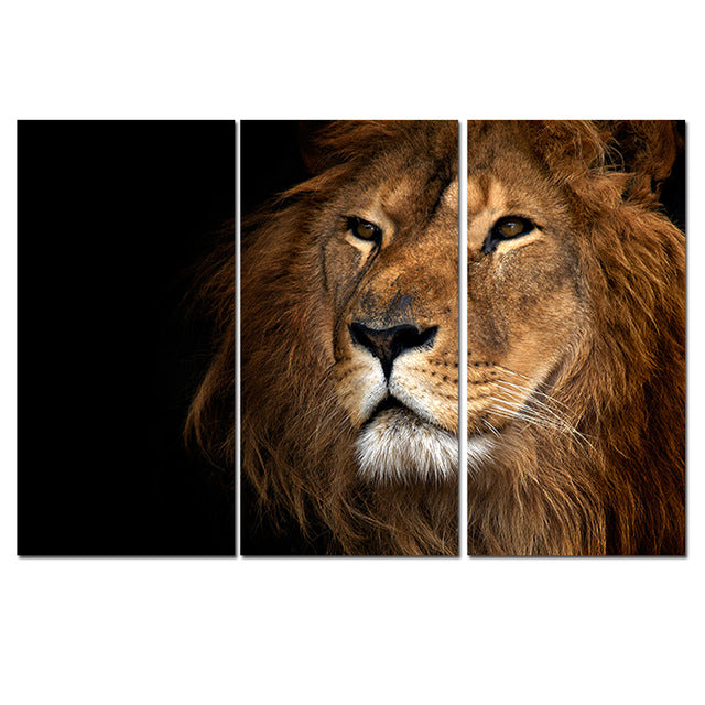 Animal Oil Painting Lion King Posters Wall Art and Prints Home Decor Canvas Pictures 3 Pieces