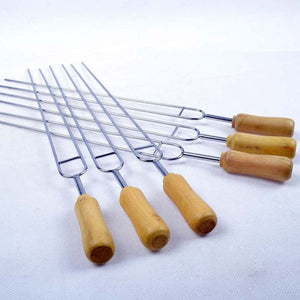 Shape BBQ Roast Wood Handle Separated Heat +Stainless Steel Barbecue Needle Skewers BBQ