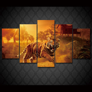 HD Printed Sunset Jungle Tigers Painting on Canvas Room Decoration Print Poster Picture Canvas