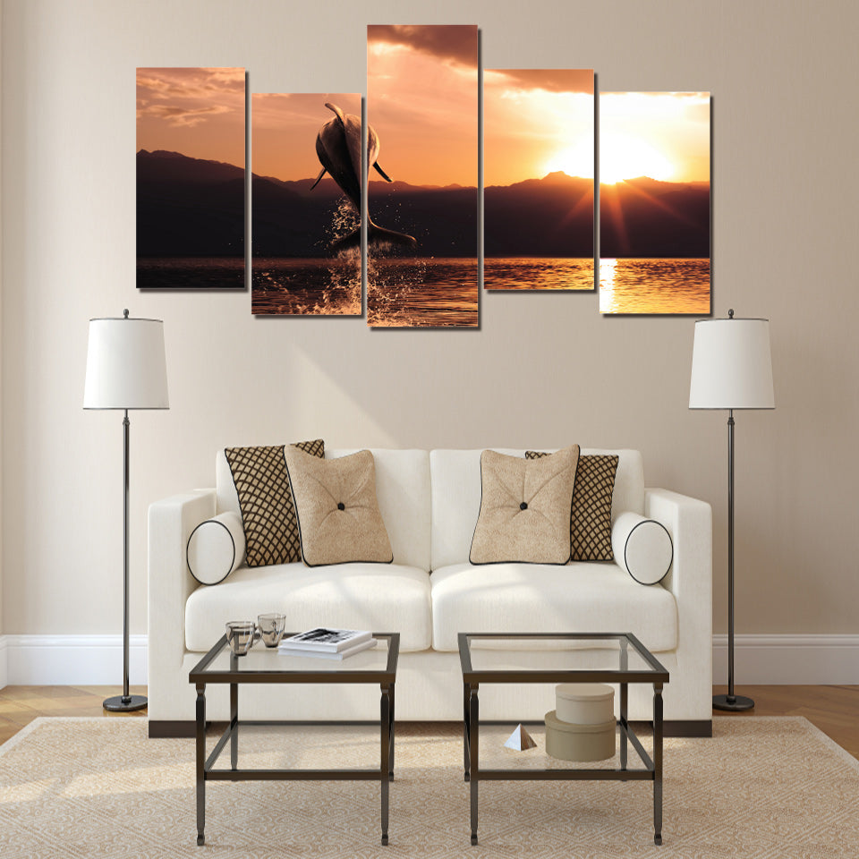 HD Printed Dolphin Sunset Seascape Picture Painting Wall Art Decor Print Poster Picture Canvas