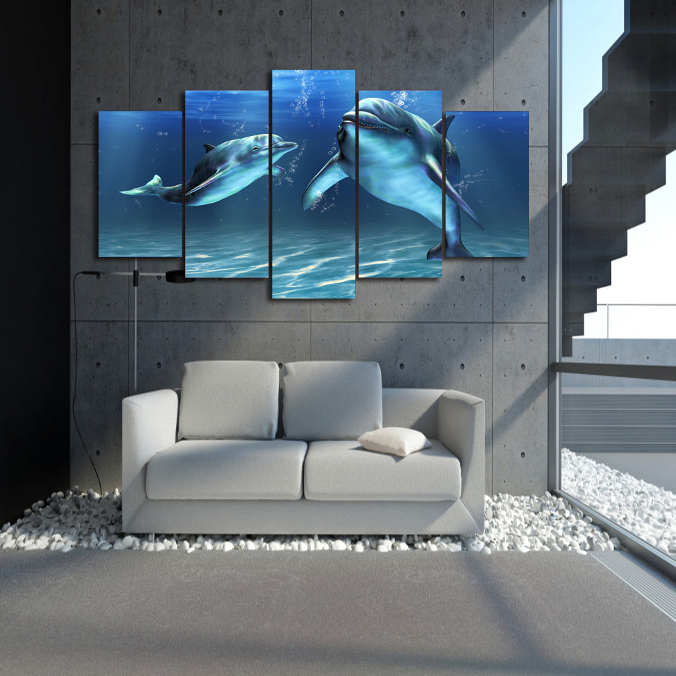 HD Printed Blue Dolphin 5 Piece Picture Painting Wall Art Room Decor Print Poster Picture Canvas