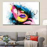 Abstract Sexy Woman Face Wall Picture Fashion Print Painting On Canvas Wall Art