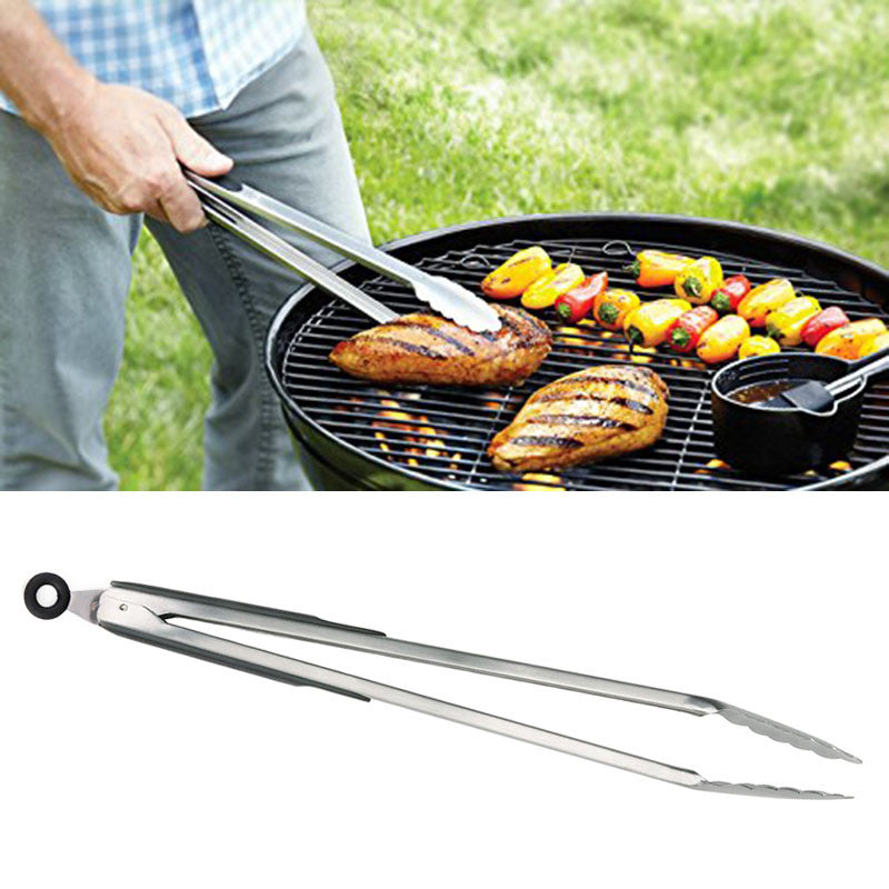 1pc Stainless Steel Food Tongs Kitchen Buffet Locking Tong Large BBQ Tongs Long Handles