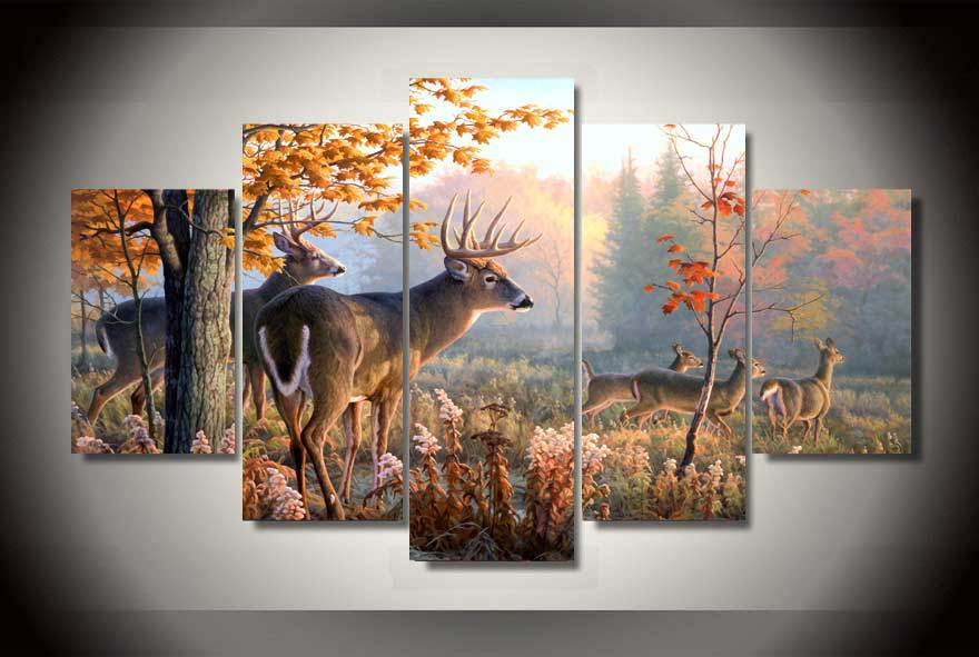 5 Panel Forest Wonderland Animal Deers Wall Art Picture Canvas Print Wall Picture