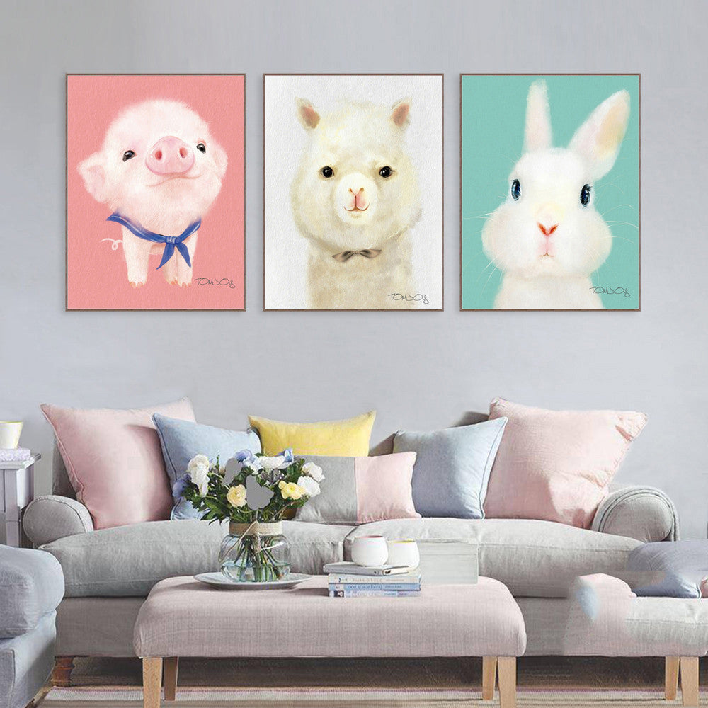 Triptych Lovely Cartoon Animal Canvas Art Print Painting Cute Rabbit Pig Dog Poster Wall Picture Wall Decor