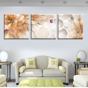 3 Panels Abstract Painting Nude Color Flower Canvas Modern Decor Wall Picture Art Prints Poster
