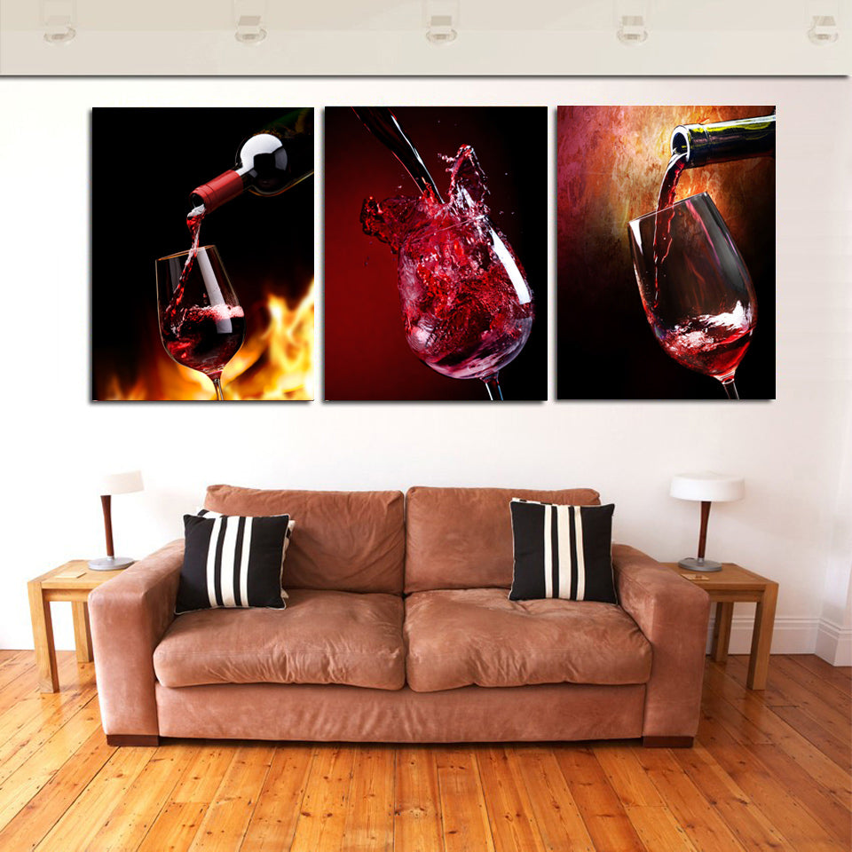 HD Printed 3 Piece Canvas Vineyard Vines Red Wine Glass Living Room Painting Wall