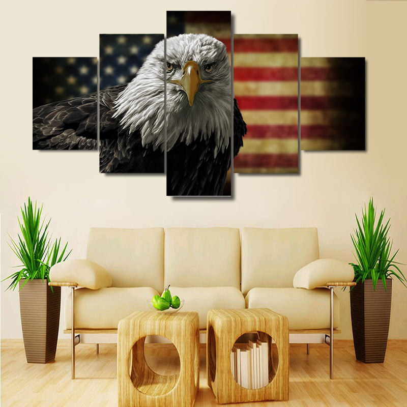 5 Pieces American Flag Eagle Wall Art Picture Modern Canvas Print Painting Wall Picture