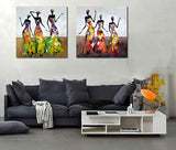 Pieces Street Wall Art Abstract Modern Dancing African Women Portrait Canvas Oil Painting