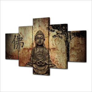 HD Printed 5 Piece Canvas Art Buddha Combine Painting Living Room Decoration Bedroom