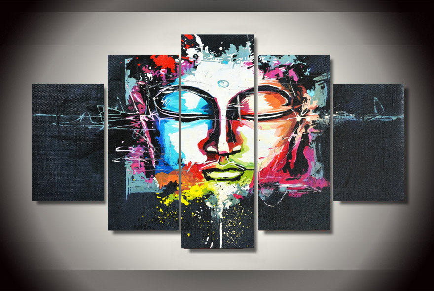 5 Panel Modern Abstract Buddha Art Painting Canvas Wall Art Picture Print