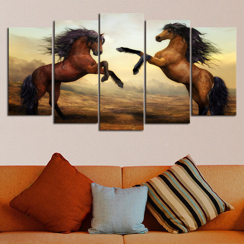 5 Piece Canvas Art Brown Horse Picture Print Oil Painting Wall Art Wall