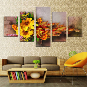 5 Piece Canvas Art Oil Painting Sunshine Flower Picture Canvas Paint Painting