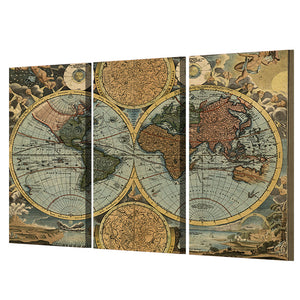 Printed Vintage World Map Painting Canvas Print Room Decor Print Poster Picture