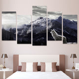 HD 5 Pieces Printed Snow Mountain Plateau Wolf Paintings Canvas Wall Art Decor Print Poster Picture