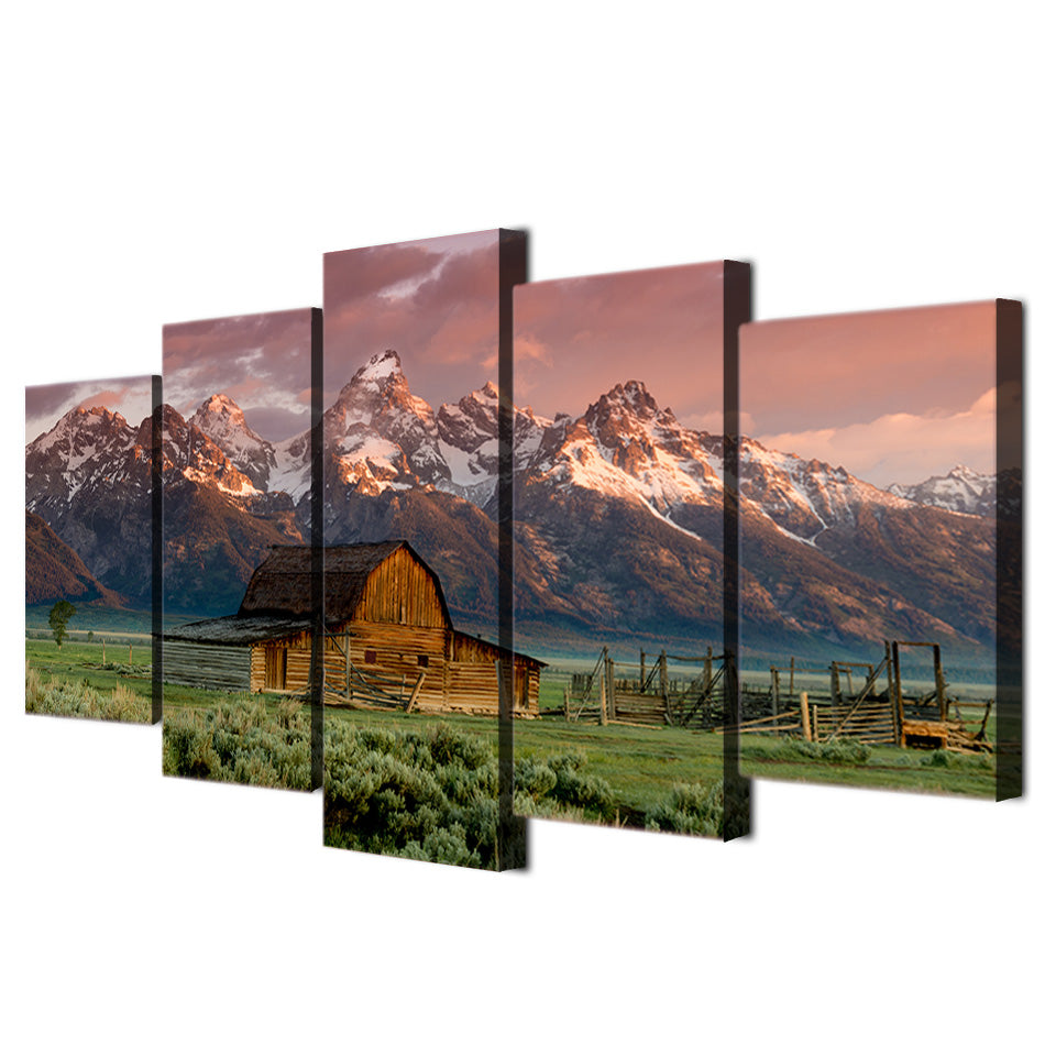 HD Print 5 Piece Landscape Canvas Painting Barn Rocky Mountains