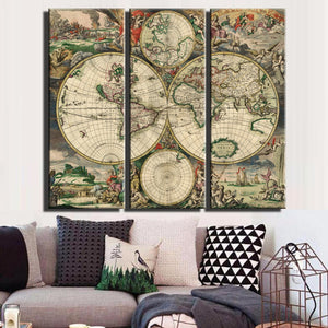 Vintage World Map Large Canvas Painting Print Unframed 3 Panel Canvas Srt Antique Wall Map Decor