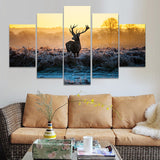 5 Panel Winter Morning Sun Elk Wild Animal Modern Canvas Picture Art HD Print Painting On Canvas