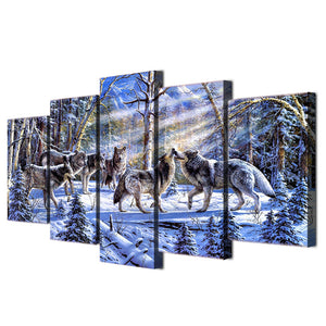 HD Printed The Wolves in The Snow Painting Canvas Print Room Decor Print Poster Picture Canvas