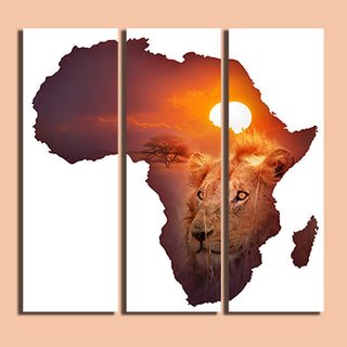 3 Panel The African lion Wall Art Picture Painting Canvas Home Decor Living Room Canvas Print