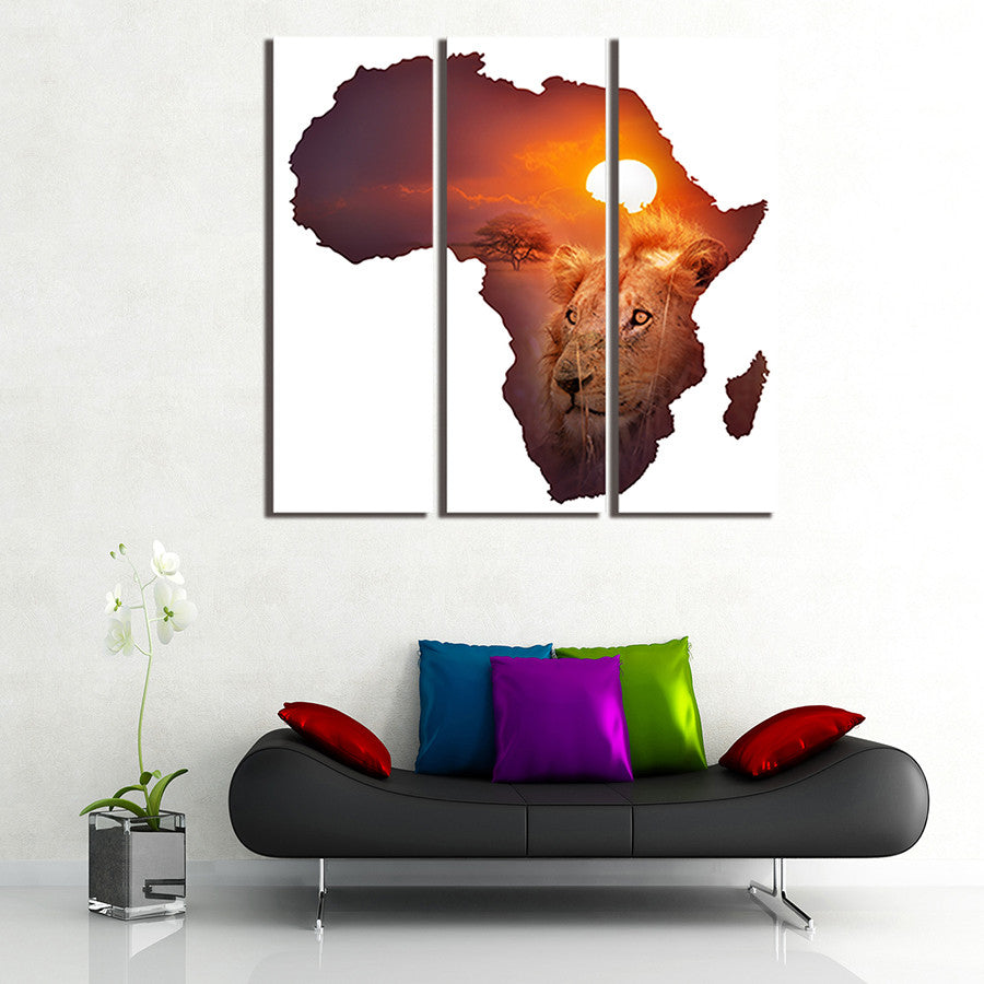 3 Panel The African lion Wall Art Picture Painting Canvas Home Decor ...