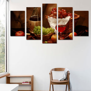 5 Piece Canvas Art Wine Drink Fruit Classical HD Printed Wall Painting Retro