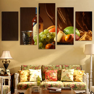 5 Piece Wall Art Picture Decor Wine Drink Fruit Classical HD Printed Print Canvas Painting