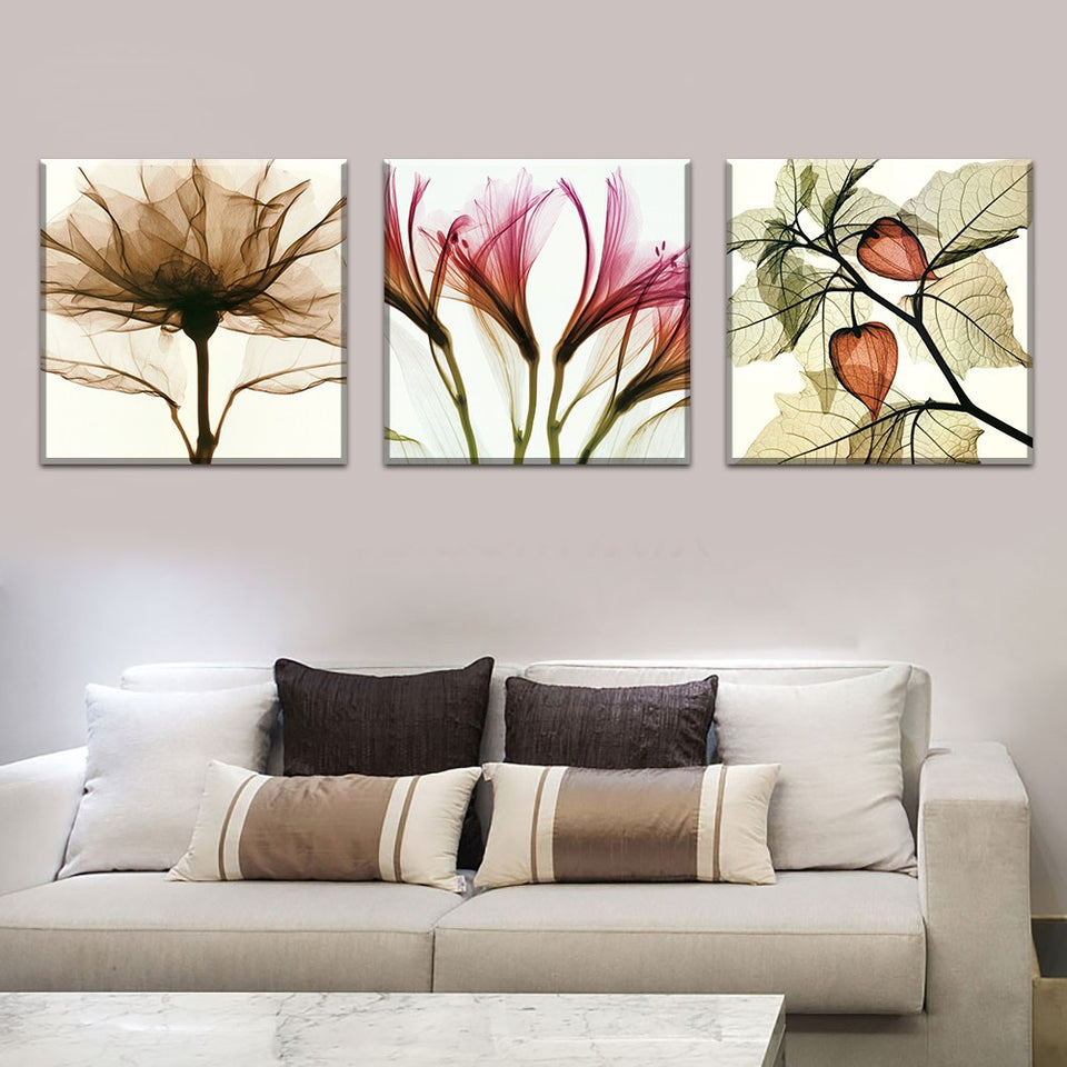 3 Panel Abstract Flower Modern Print Canvas Art Oil Painting Home Modular Picture
