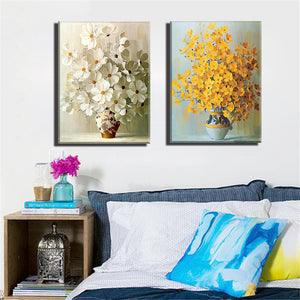 Canvas Art Oil Painting Home Decoration Abstract Colorful Flower Print  Modular Picture Wall 2 Panel
