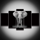 HD Printed African Elephant Picture Painting Canvas Art 5 Panels Animal Landscape