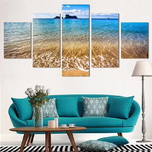 Fashion 5 Panel Printed Sea Wave Landscape Painting Picture  Canvas Art Seascape Painting