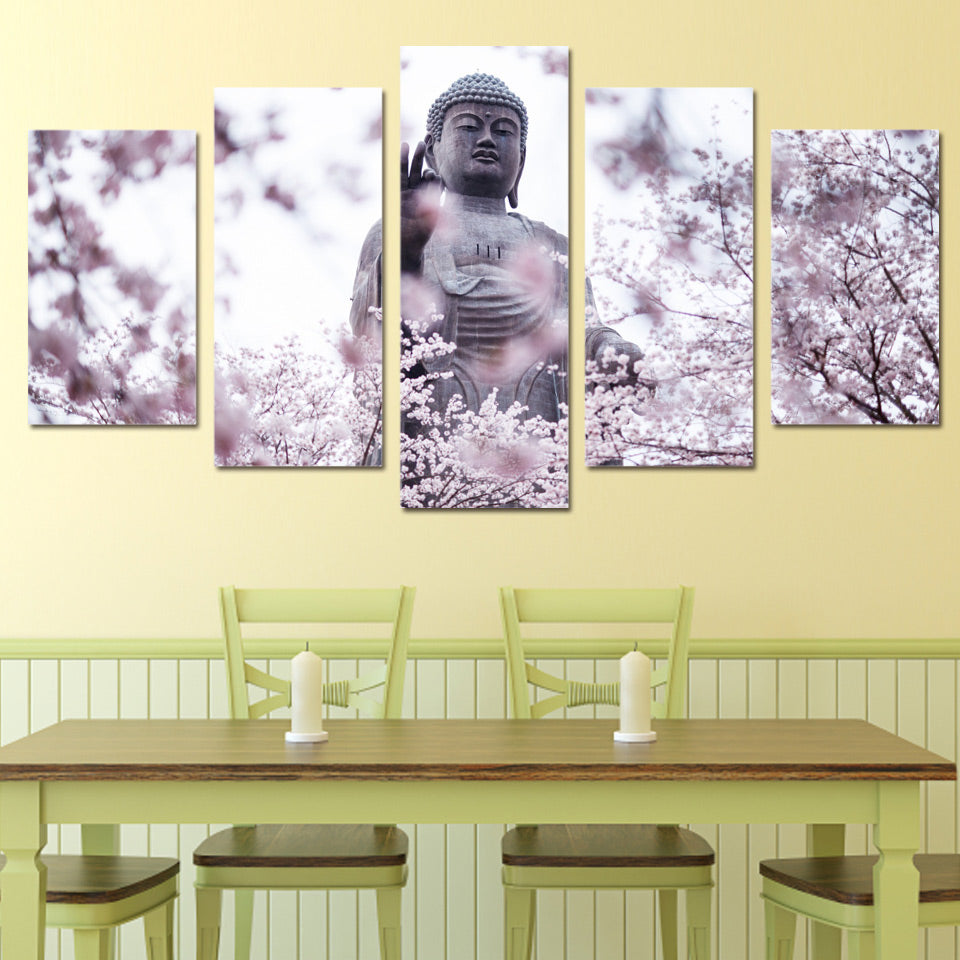 Buddha Wall Art Canvas Painting 5 piece HD Statue Flower Pictures ...