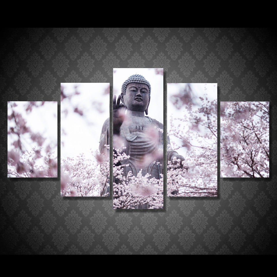 Buddha Wall Art Canvas Painting 5 piece HD Statue Flower Pictures Paintings