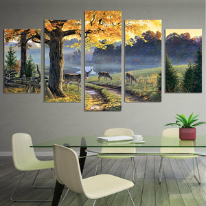 HD Printed Autumn Lake Animal Deer Painting Canvas Print Room Decor Print Poster Picture Canvas
