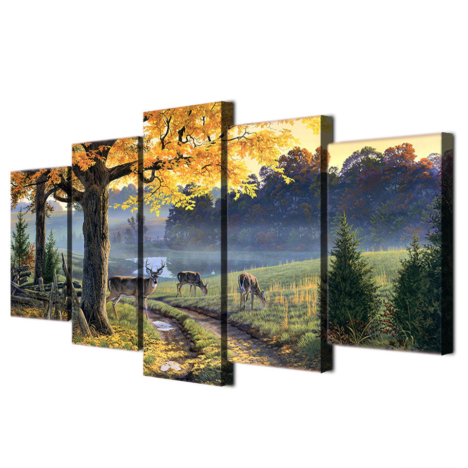 HD Printed Autumn Lake Animal Deer Painting Canvas Print Poster Picture Canvas