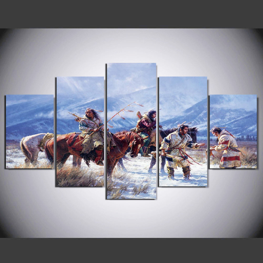 5 Pieces Native American Indian Snow Mountain Modern Home Wall Decor Canvas Picture Art HD Print Painting On Canvas