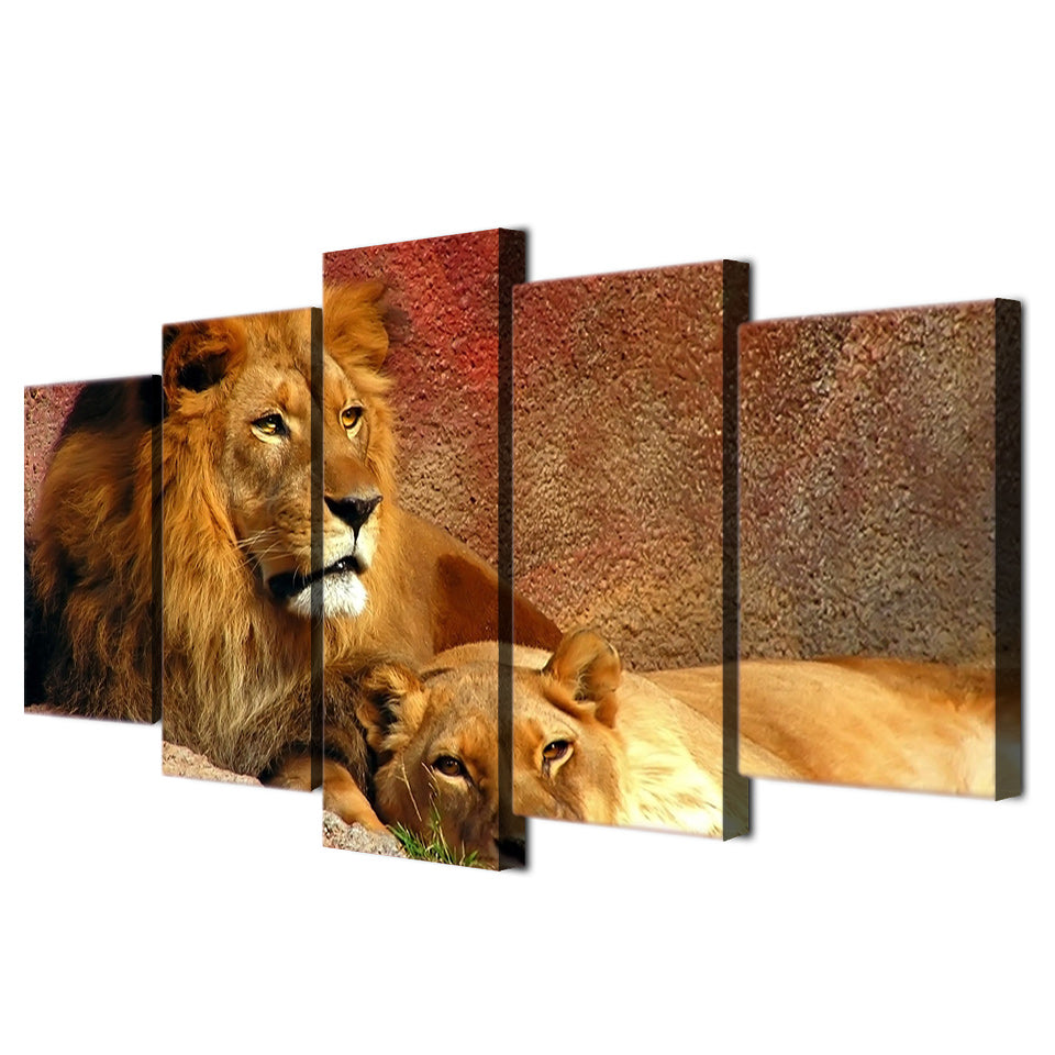HD Printed Animals Lion Group Painting Canvas Print Room Decor Print Poster Picture Canvas