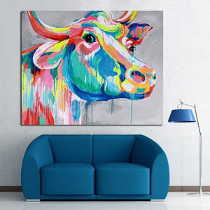 Modern Abstract Art 100%Handpainted Oil Painting Cow Paintings on Canvas Wall Art Pictures