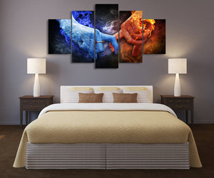 HD Canvas Art Printed Love Hand Flame Painting Canvas Print Poster Picture