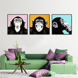 3pcs Melamine Sponge Board Oil Painting Picture Funny Monkey Wall Art Paint Animal Prints On Canvas Art