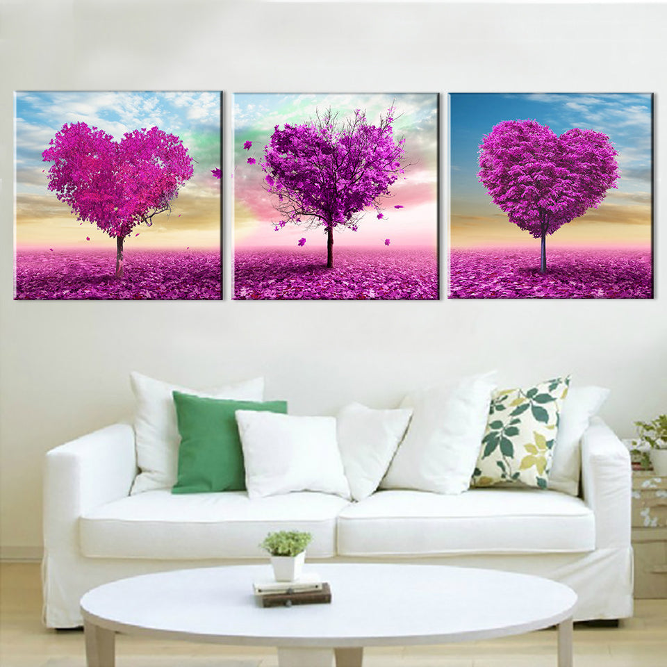 Tree Oil Painting Wall Art Landscape Canvas Art Purple Love Home Decoration Modular Pictures  3 Panels