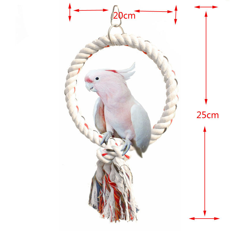 Toy Bird Cotton Rope Ring Perch Stand Perch Rack Toy Budgies Parakeets Parrots Chew Swing