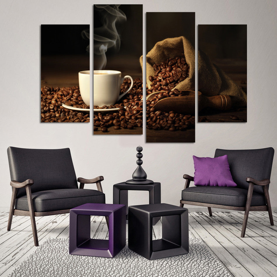4 Panels Printed Coffee Canvas Art Painting Picture Kitchen Home Decor Wall Art
