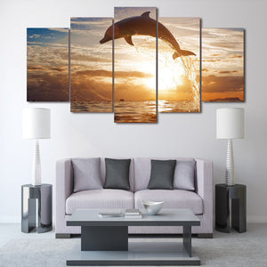 HD Printed Dolphin Ocean Seascape Group Painting Room Decor Print Poster Picture Canvas