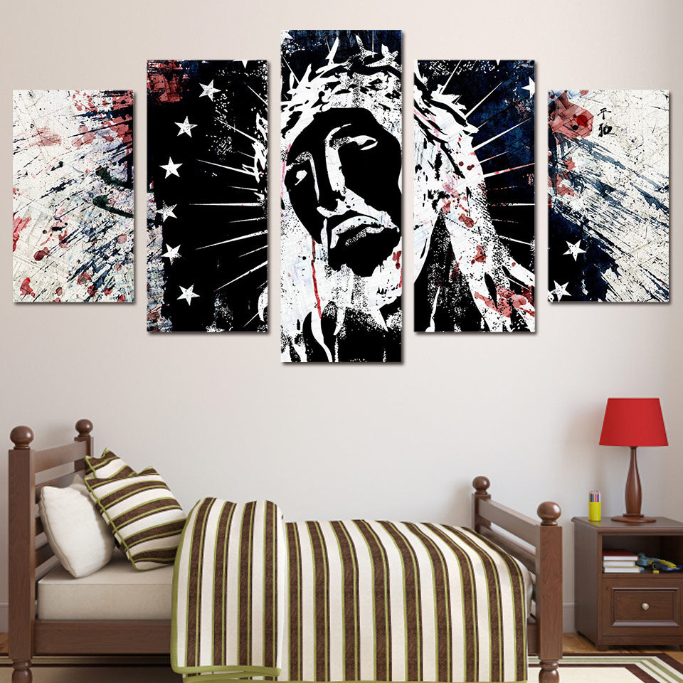 Black And White Wall Art Canvas Painting 5 Piece HD Printed Graffiti Man Star Around