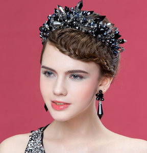 Handmade Black Baroque Style Bridal Crystal Crown Tiara Headpieces Evening