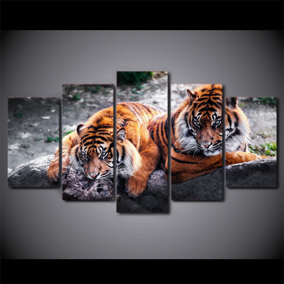 HD Printed Two Tigers Animals Painting Canvas Print Poster Picture Canvas