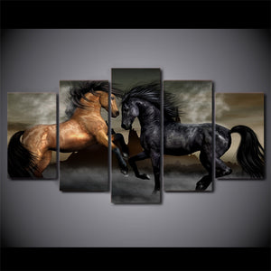 HD Printed 5 Piece Canvas Art Black Brown Horse Painting Wall Pictures Wall Art