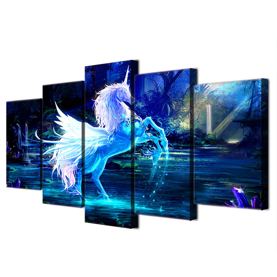 HD Printed 5 piece Canvas Sets Art Unicorn Horse Painting Canvas Pictures